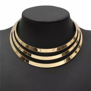 Gold Multilayer Statement Choker Necklace